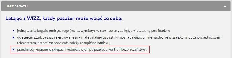 WizzAir. Zakupy w sklepach bezcłowych